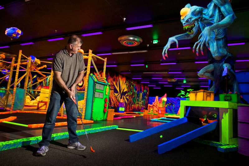 neon indoor mini golf: weird things to do in portland