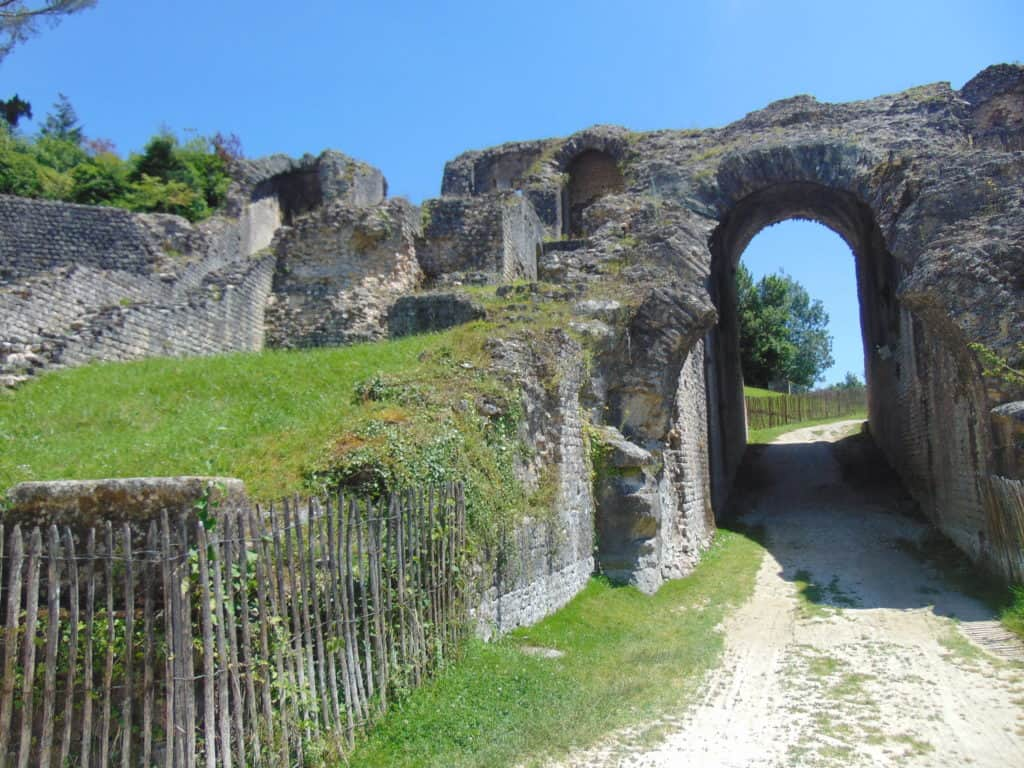 Ancient Roman Ampitheater in Saintes, France. Door of the living.