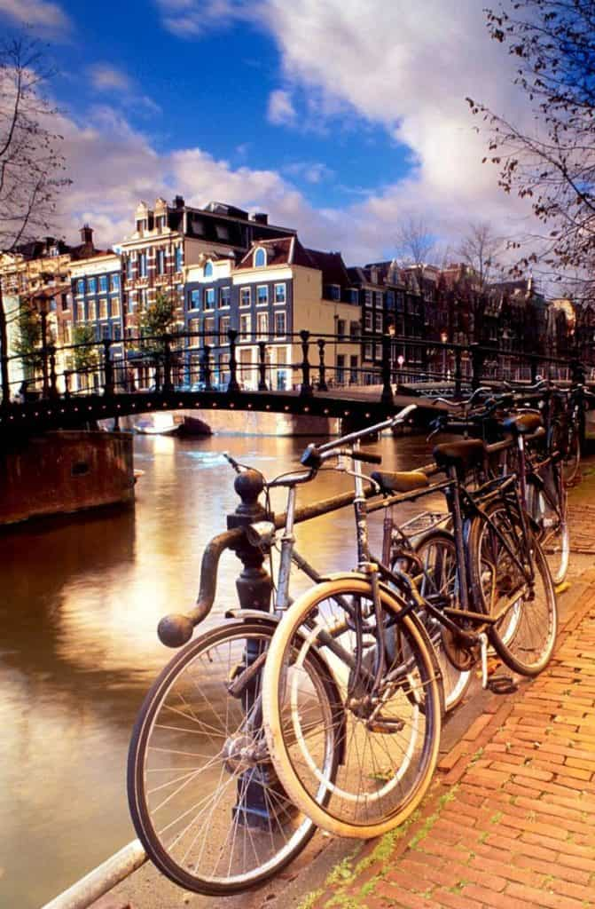 bikes on the canals of amsterdam