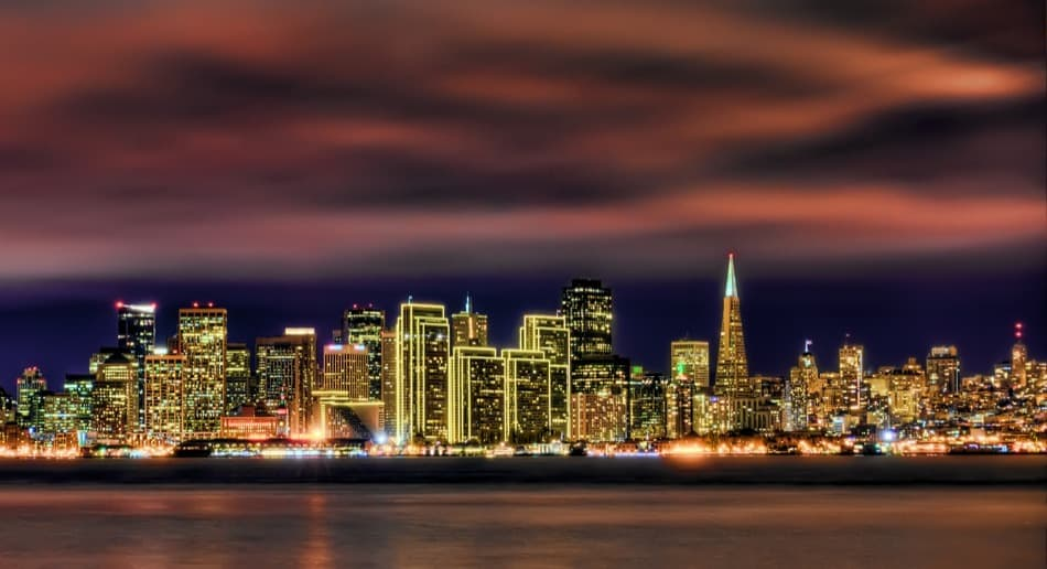 skyline of San Francisco over the bay at night