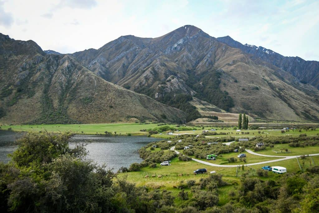 Moke Lake campervan site in new zealand