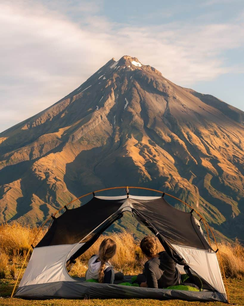 Camping at Pouakai Hut in NZ