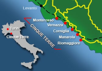 hiking in cinque terre map