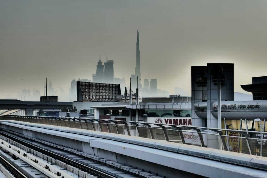 Dubai metro tracks with Burj Khalifa